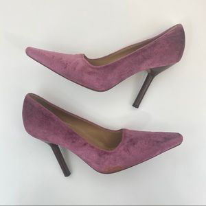 Gucci Pink Velvet Wooden Heel Pumps 8